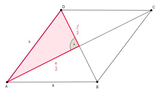 l nge der diagonale f einer raute eines rhombus berechnen. Black Bedroom Furniture Sets. Home Design Ideas