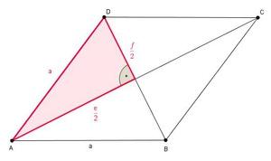 l nge der seite a einer raute eines rhombus berechnen. Black Bedroom Furniture Sets. Home Design Ideas